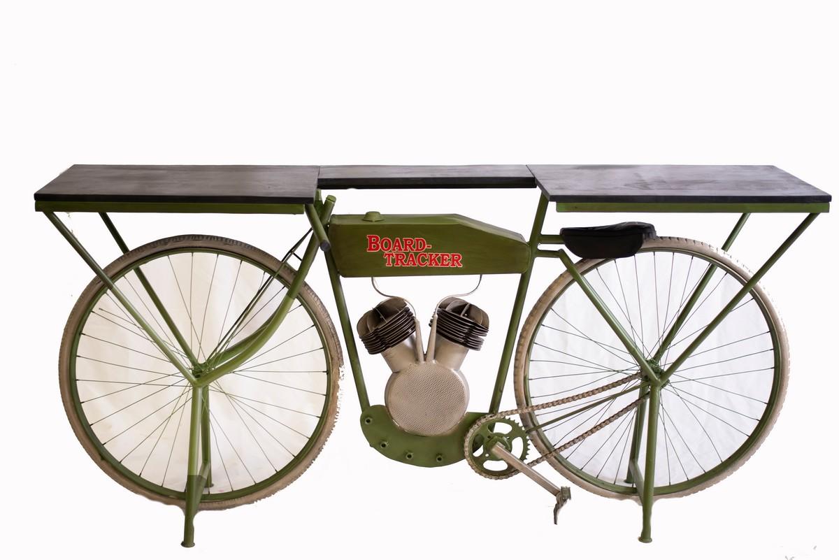 "17"" X 71"" X 33.5"" Green Historical Green Motorcycle Bar"