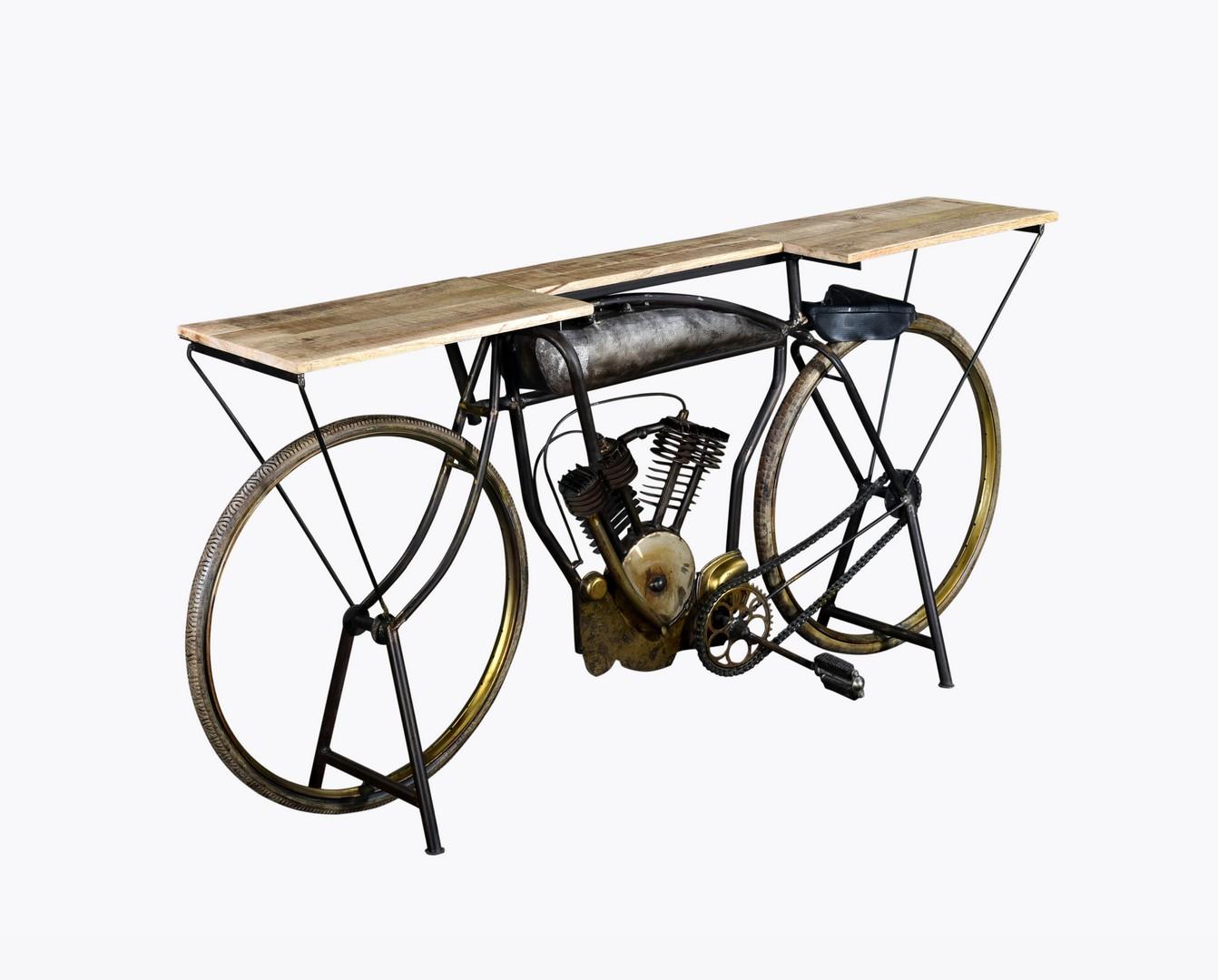 "14"" X 76"" X 34"" Silver Antique Bike Table"