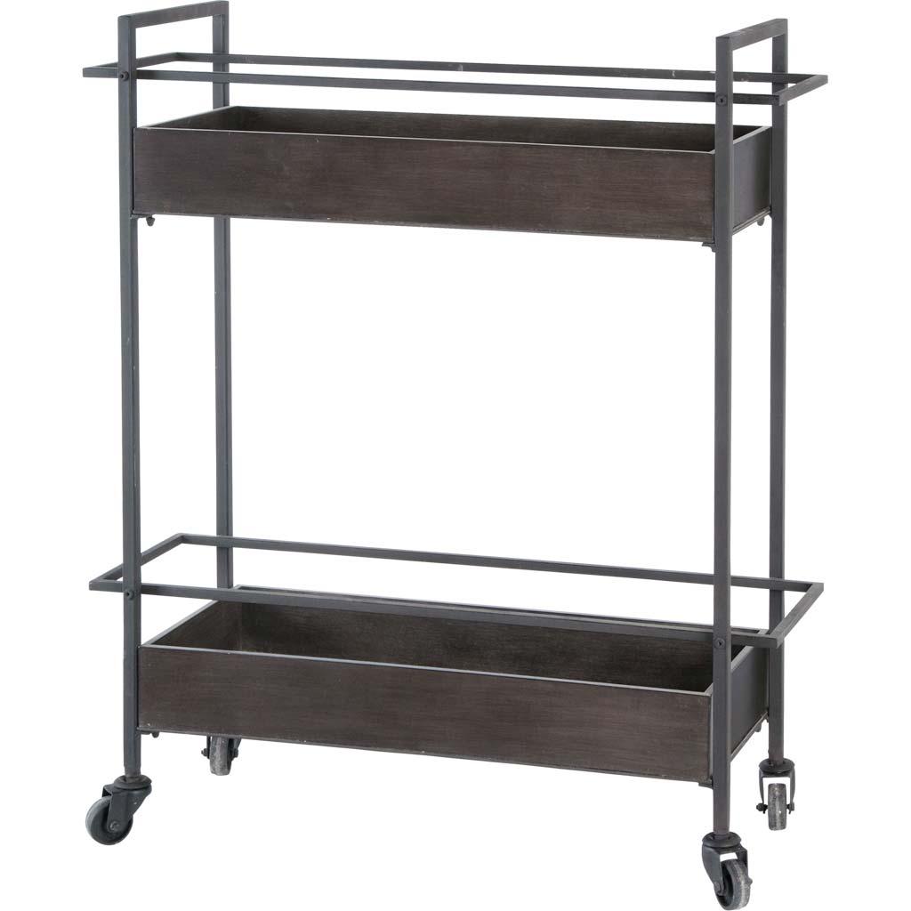 Rectangular Gray Metal With Two-Tier Shelves Bar Cart