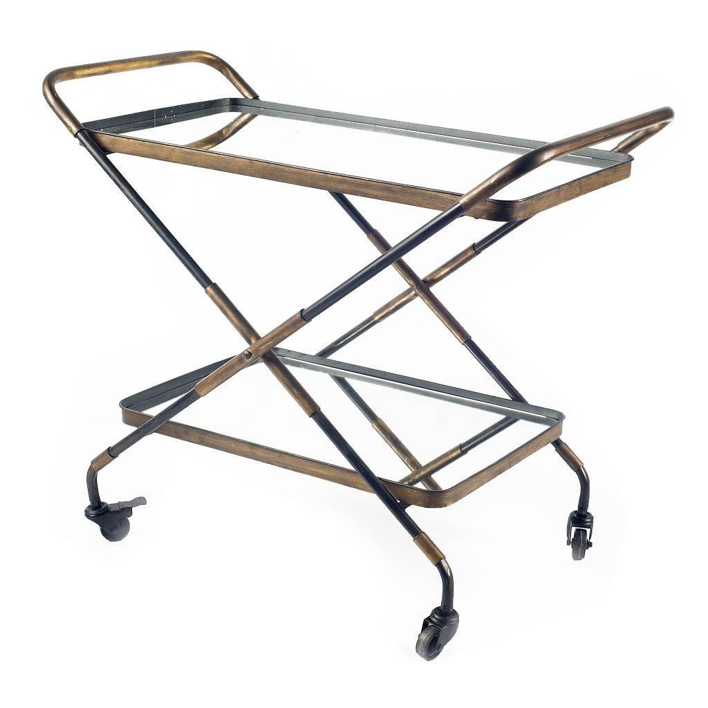 Rectangular Black And Gold Metal With Mirror Glass Shelves Bar Cart