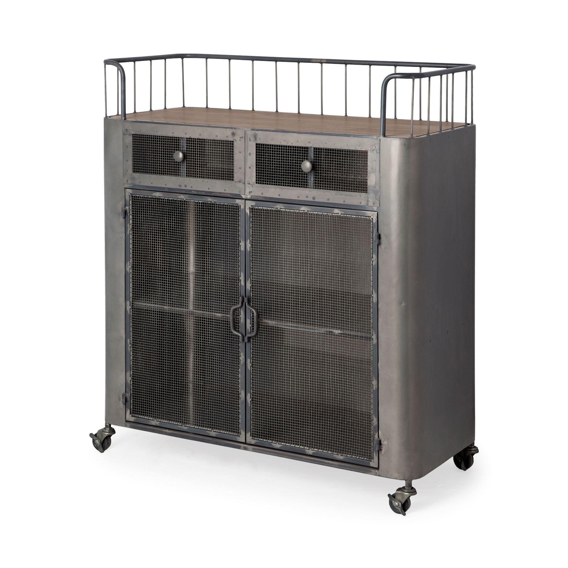 Rectangular Rustic Metal With Metal Door/Wood Top And Two Shelves Bar Cart