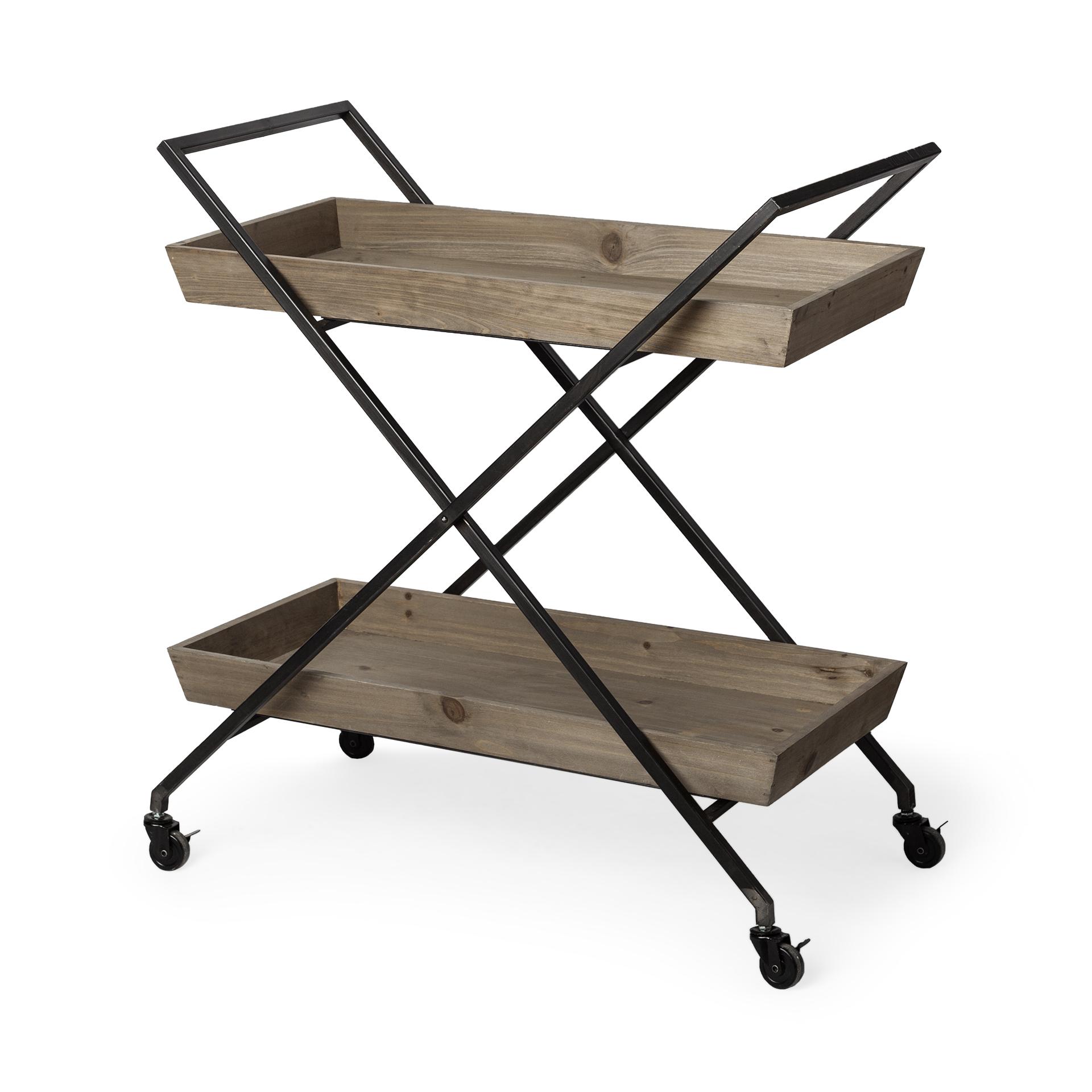 Rectangular Light Brown Wood With X Shape Metal Frame Bar Cart