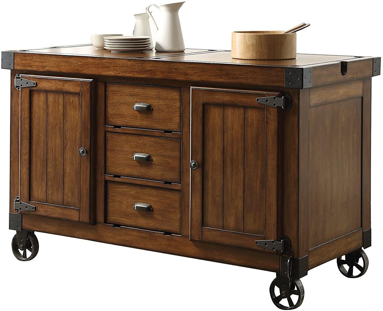 Rustic Farmhouse Warm Tobacco Rolling Kitchen Cart