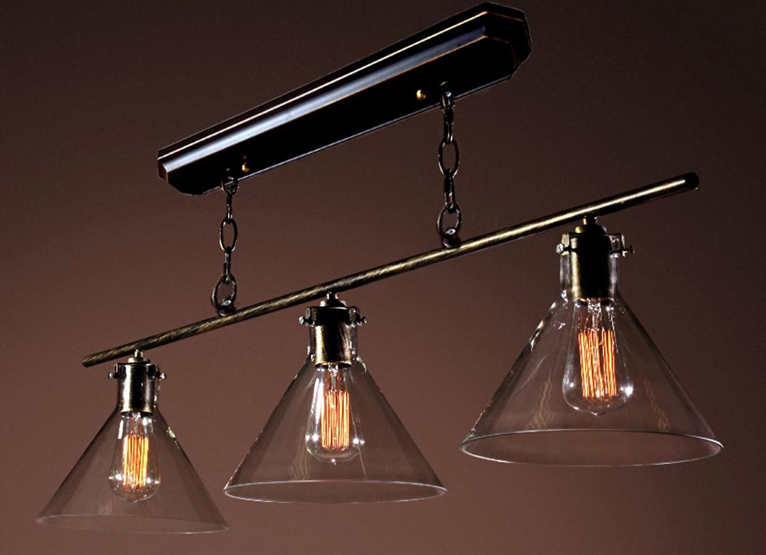 Lola 3-light Black Island Edison Chandelier with Bulbs
