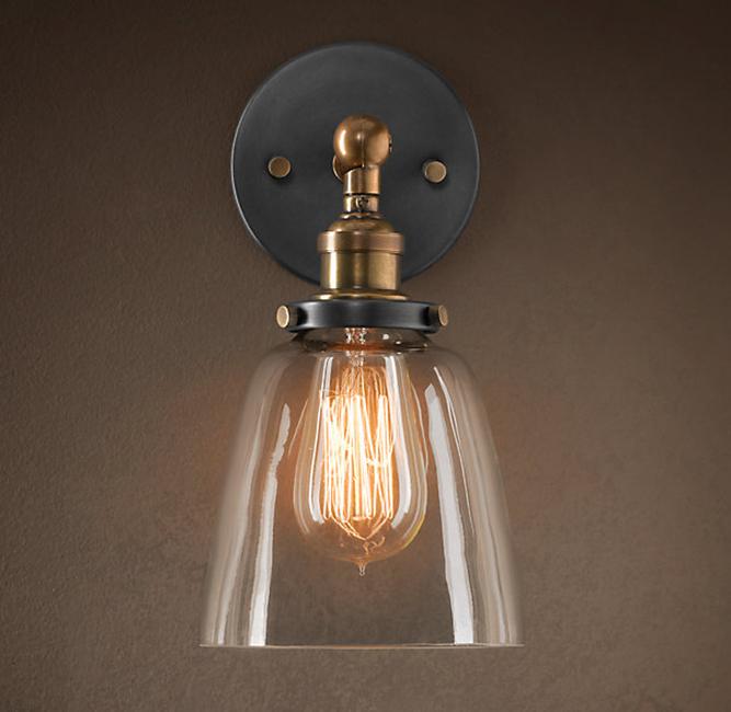 Barbara 1-light Clear Glass Edison Wall Lamp with Light Bulb