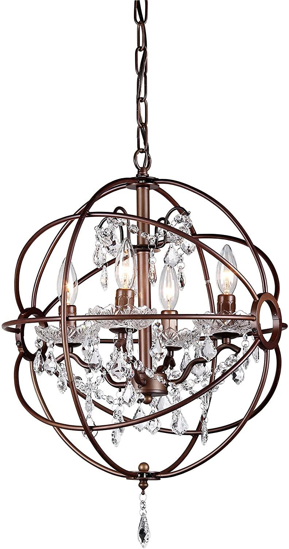 Edwards Antique Bronze 16-inch Crystal Chandelier