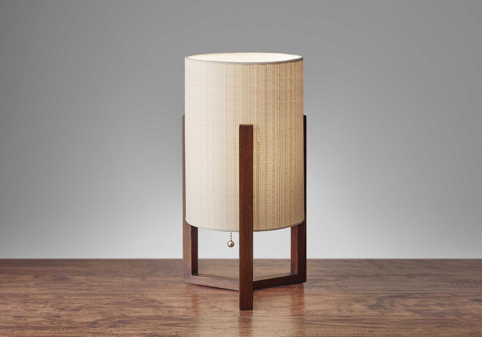 "9"" X 9"" X 17"" Walnut Wood Fabric Table Lantern"