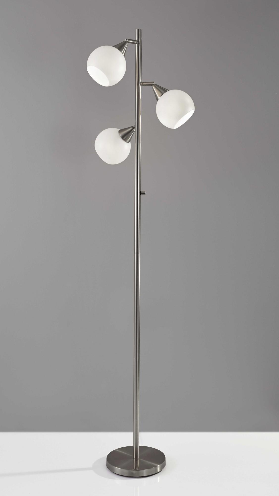 "16"" X 16"" X 71"" Brushed Steel Metal Tree Lamp"