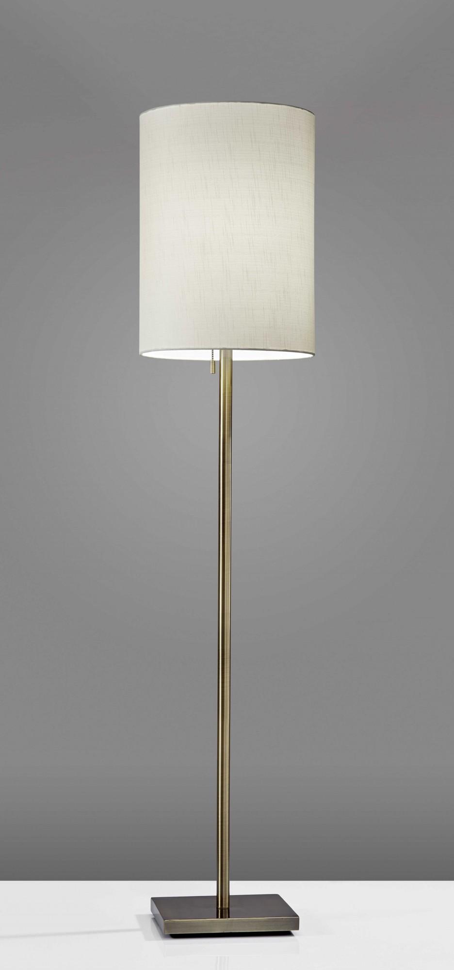 """13"""" X 13"""" X 60.5"""" Brass Metal Floor Lamp"""