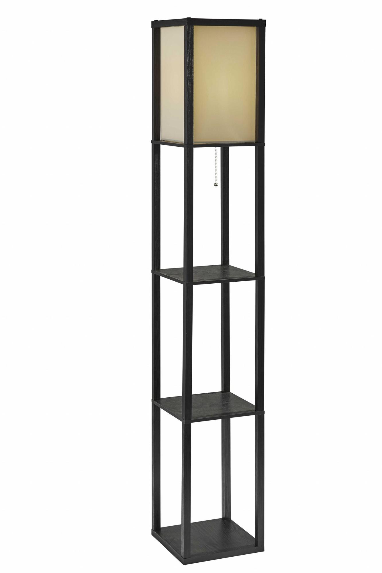 "10.25"" X 10.25"" X 63"" Black Wood Shelf Floor Lamp"