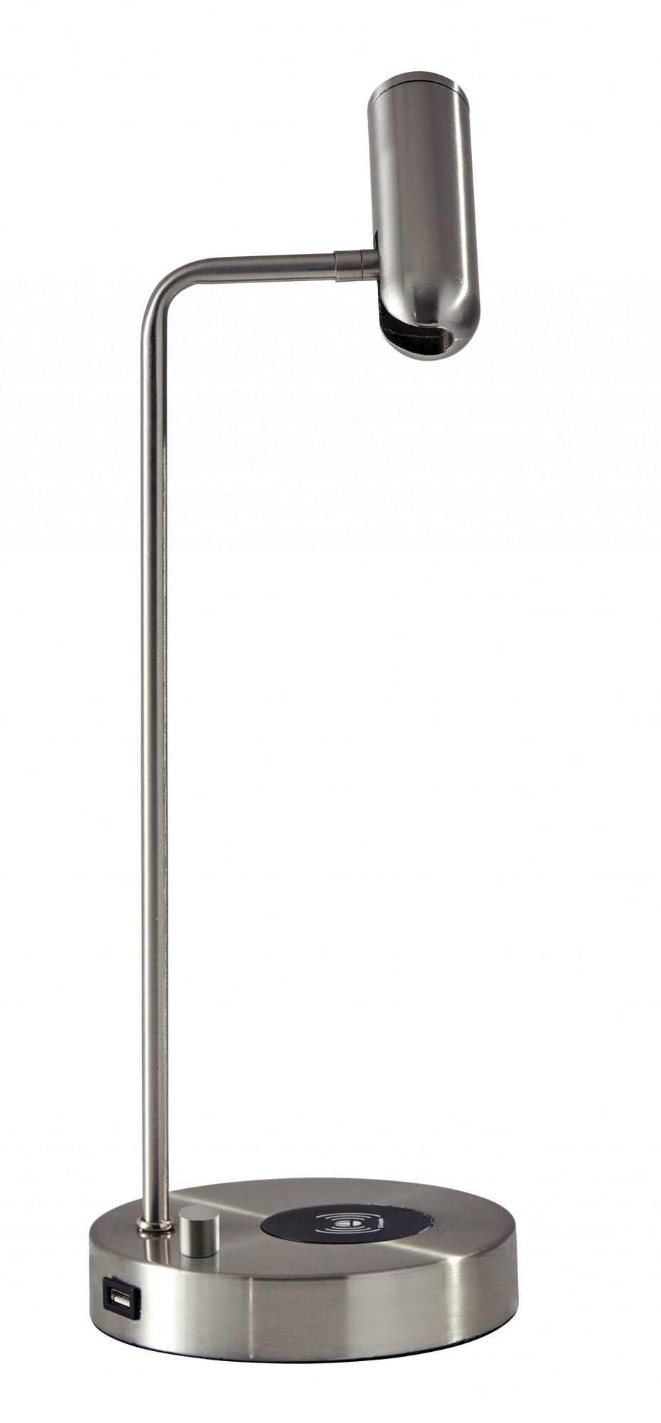"6"" X 8"" X 16.5"" Brushed Steel Metal LED Desk Lamp"