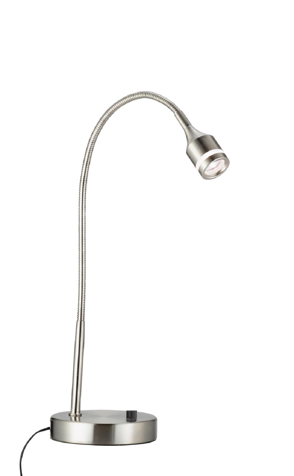 "11"" X 5-17"" X 11-18"" Brushed Steel Metal LED Desk Lamp"