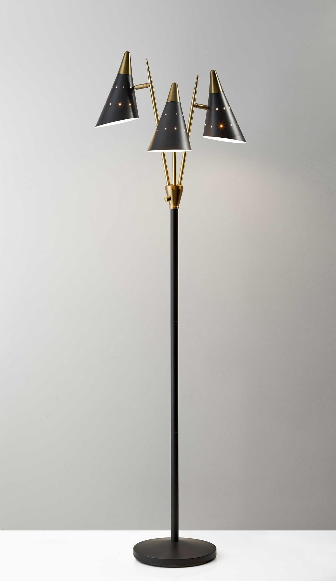 "22"" X 19"" X 66"" Black Metal 3-Arm Floor Lamp"