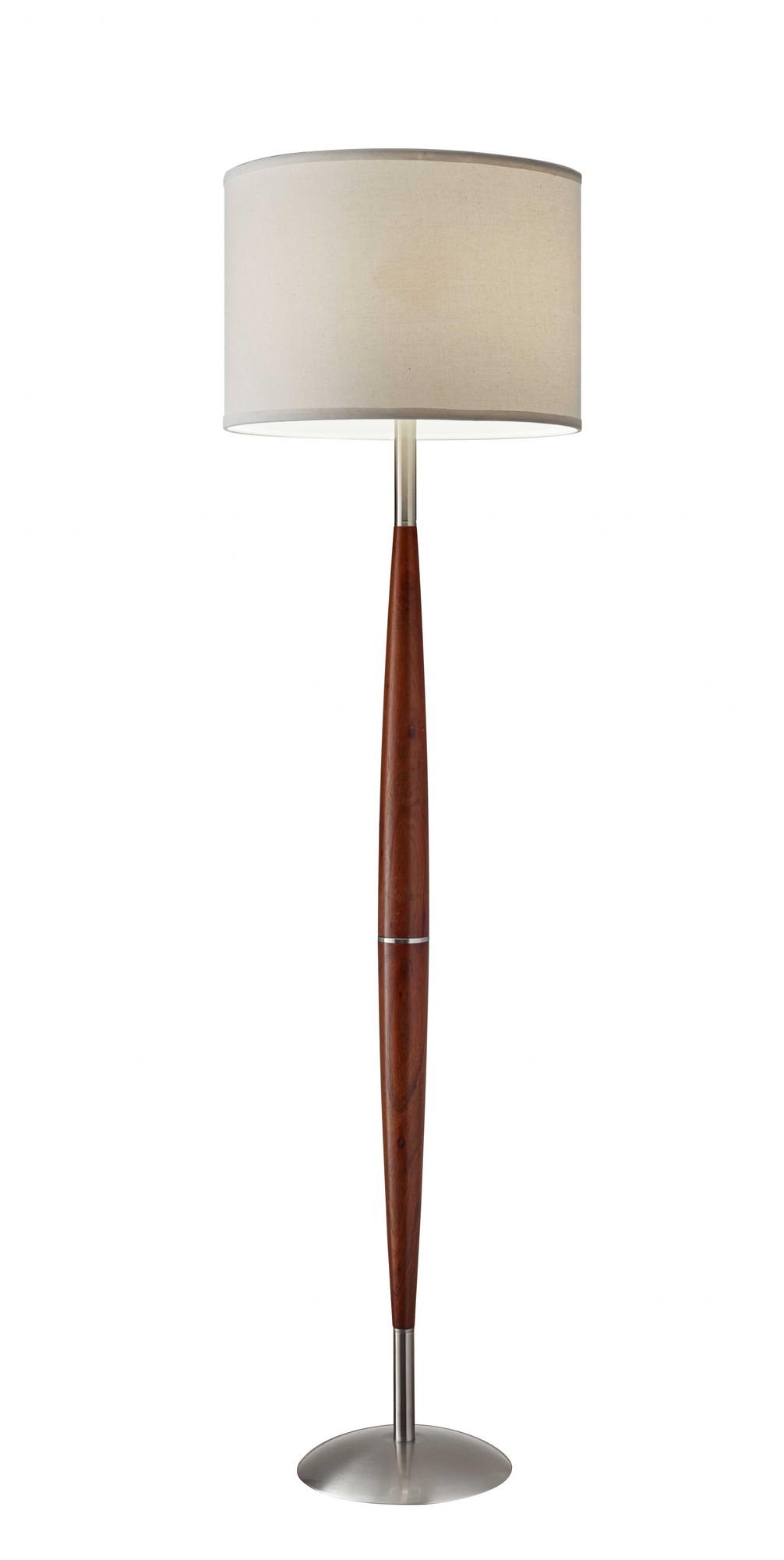 "16"" X 10"" X 61"" Walnut Wood Floor Lamp"