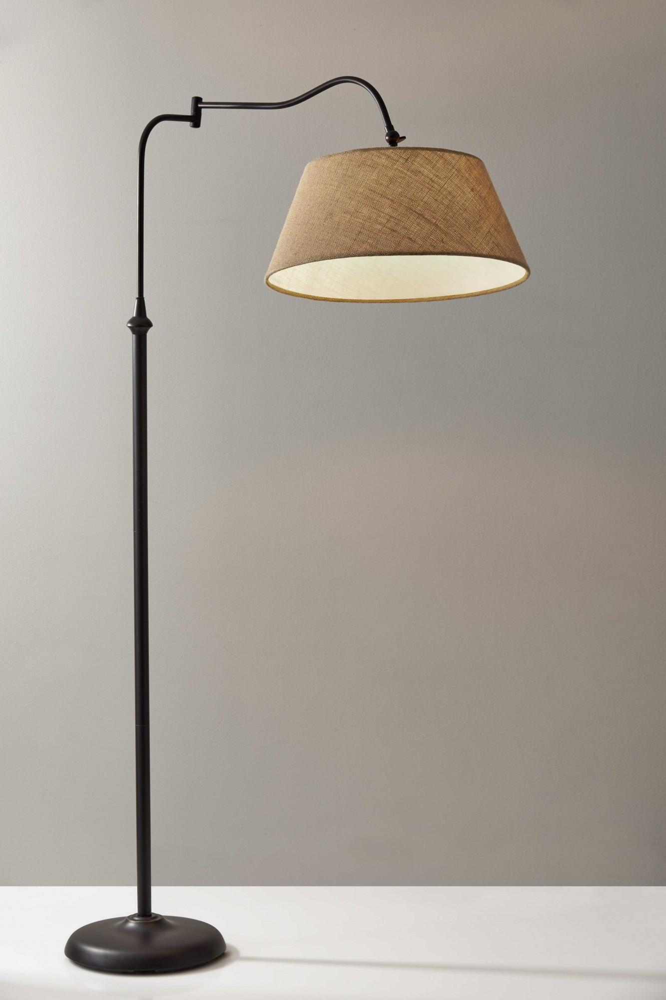 """17"""" X 29"""" X 61"""" Bronze Metal Floor Lamp"""