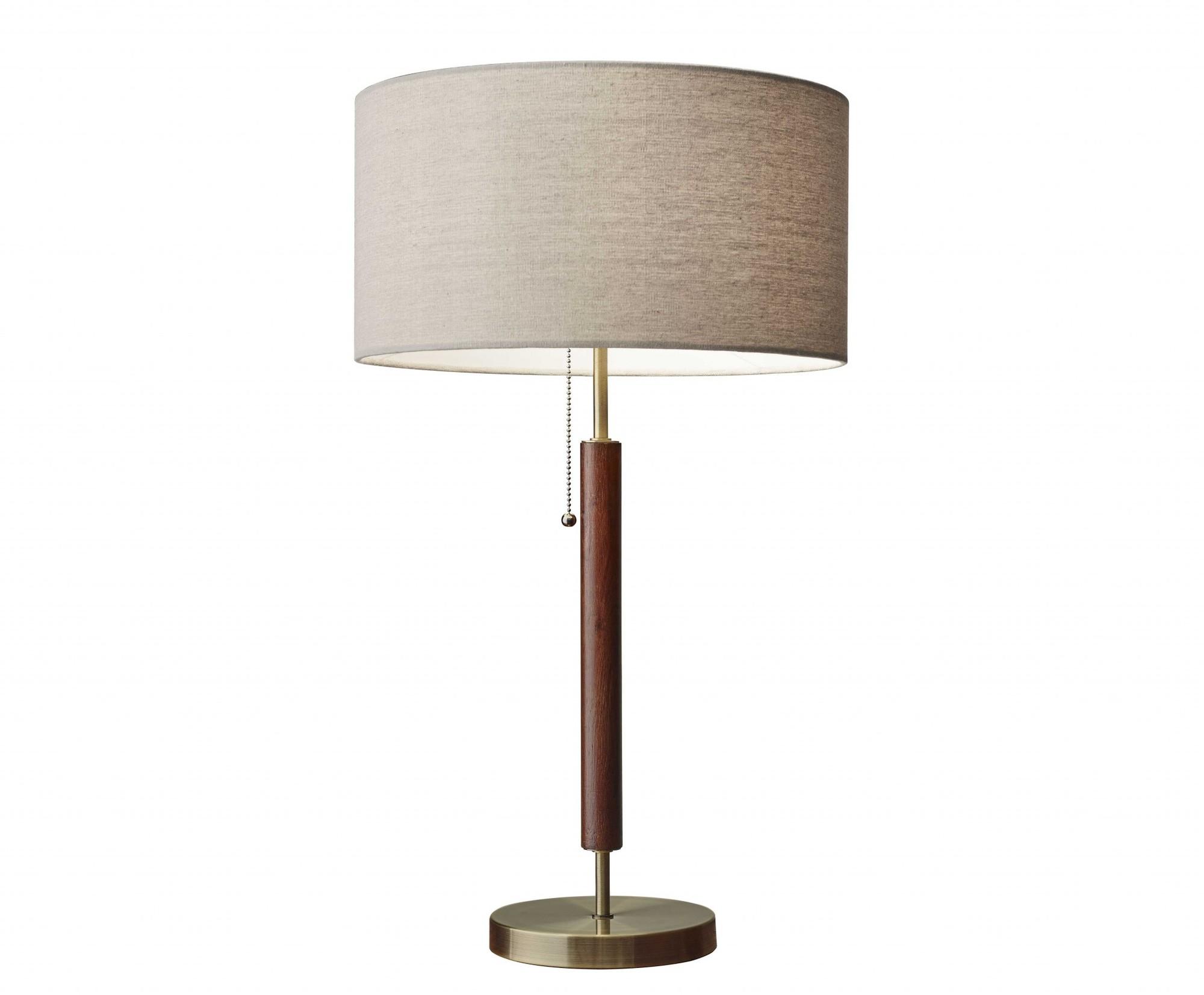 """15"""" X 7"""" X 26.25"""" Walnut Wood Metal Table Lamp"""