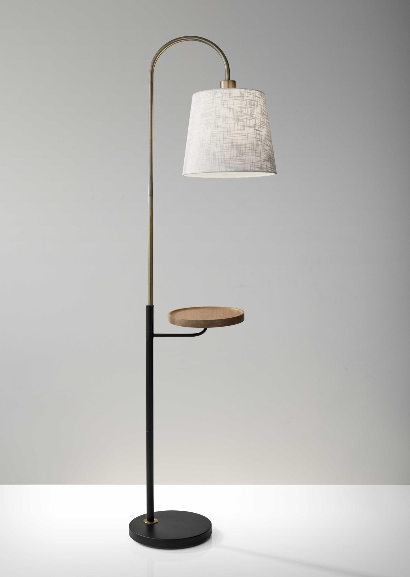 "11"" X 18.5"" X 65"" Brass Metal Fabric Shelf Floor Lamp"