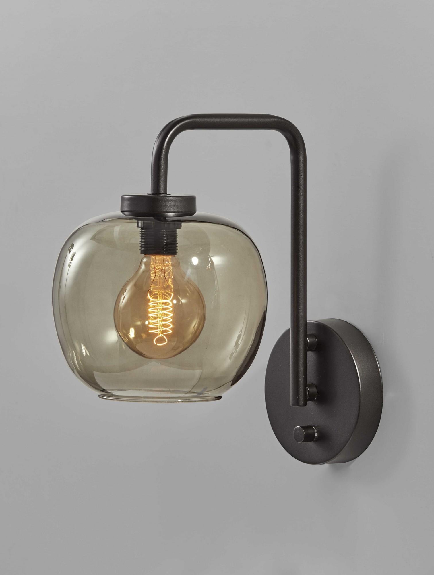 "7.5"" X 12"" X 12.5"" Black Metal Wall Lamp"