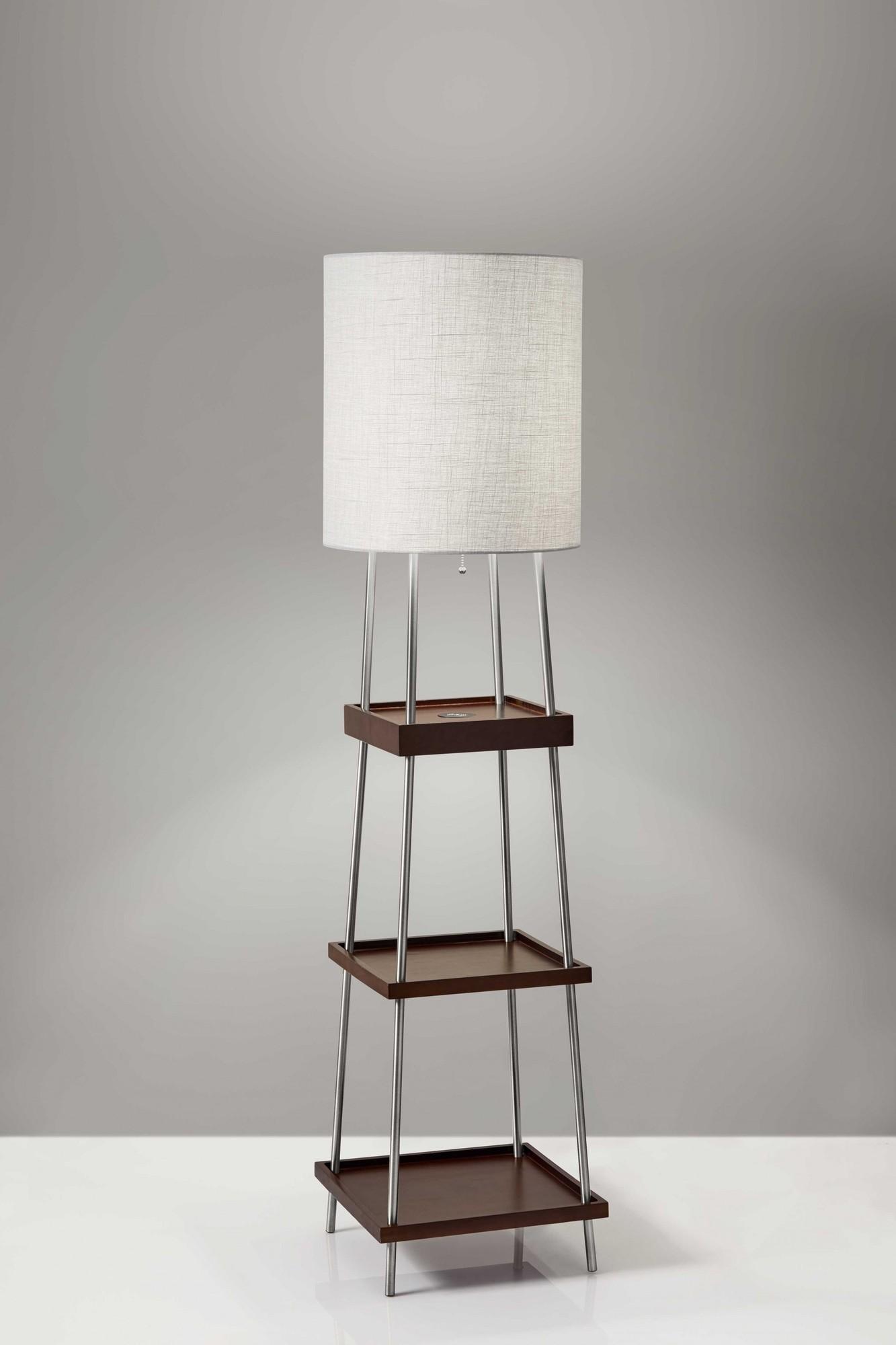 "16"" X 16"" X 63.25"" Walnut Wood Metal Shelf Floor Lamp"
