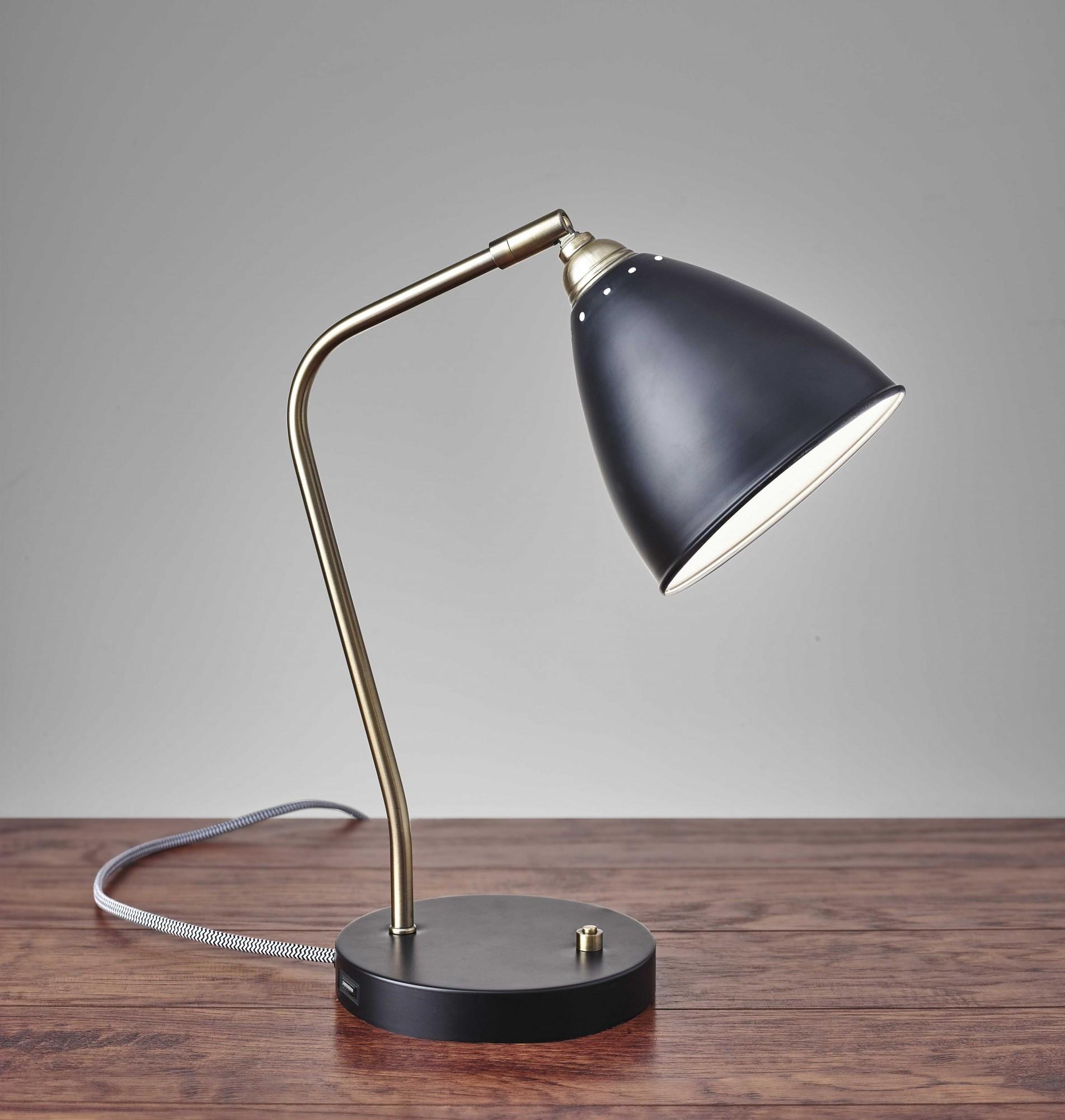 "6.25"" X 11-12.75"" X 16-21"" Black Metal Desk Lamp"