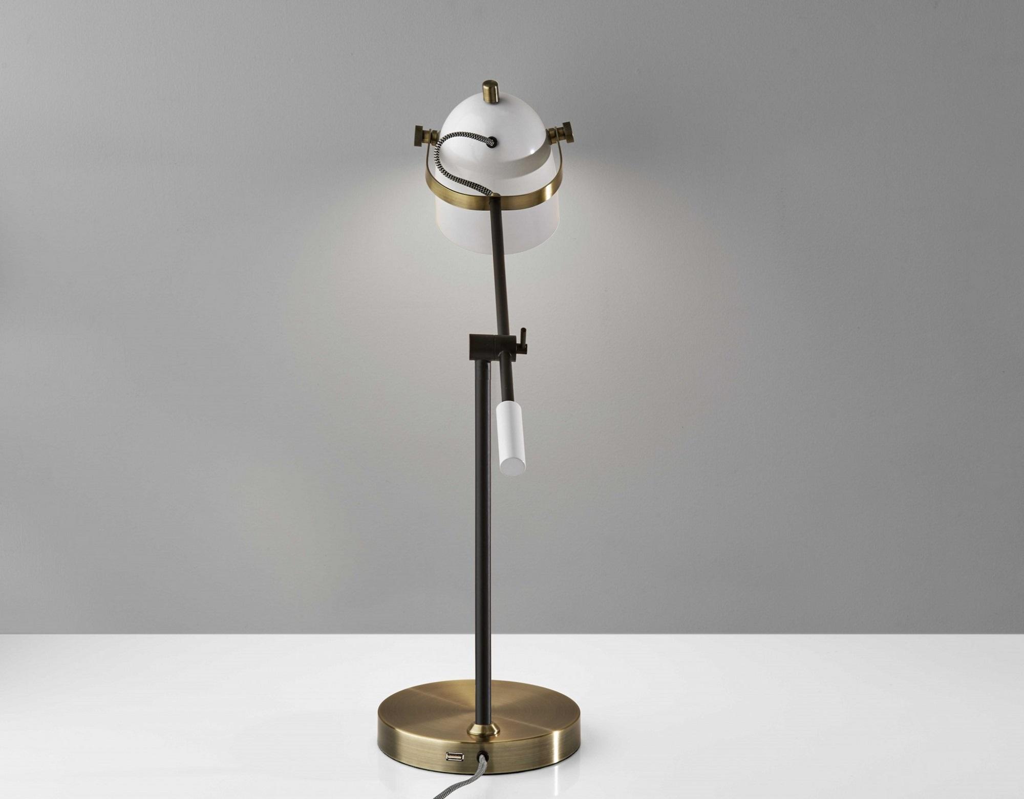 """8"""" X 24.5""""  X 18.5"""" - 28.5"""" White Metal Desk Lamp"""
