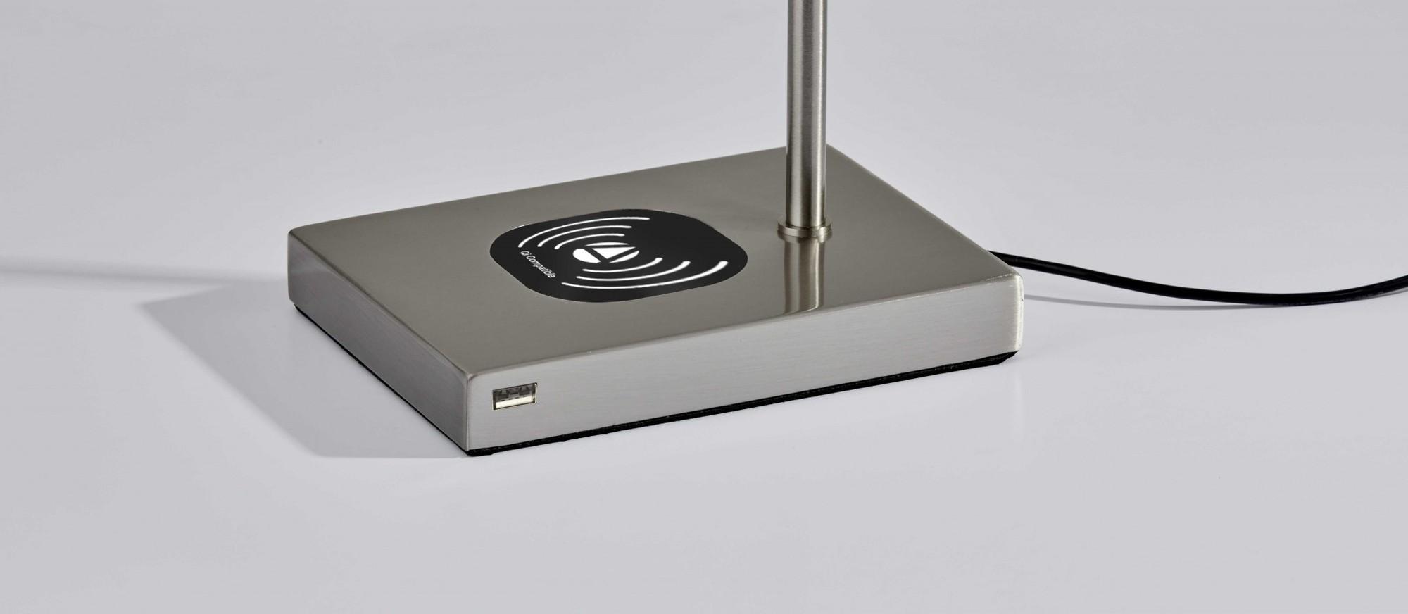 "5"" X 22.5""  X 12.25-22.25"" Brushed Steel Metal LED Desk Lamp"