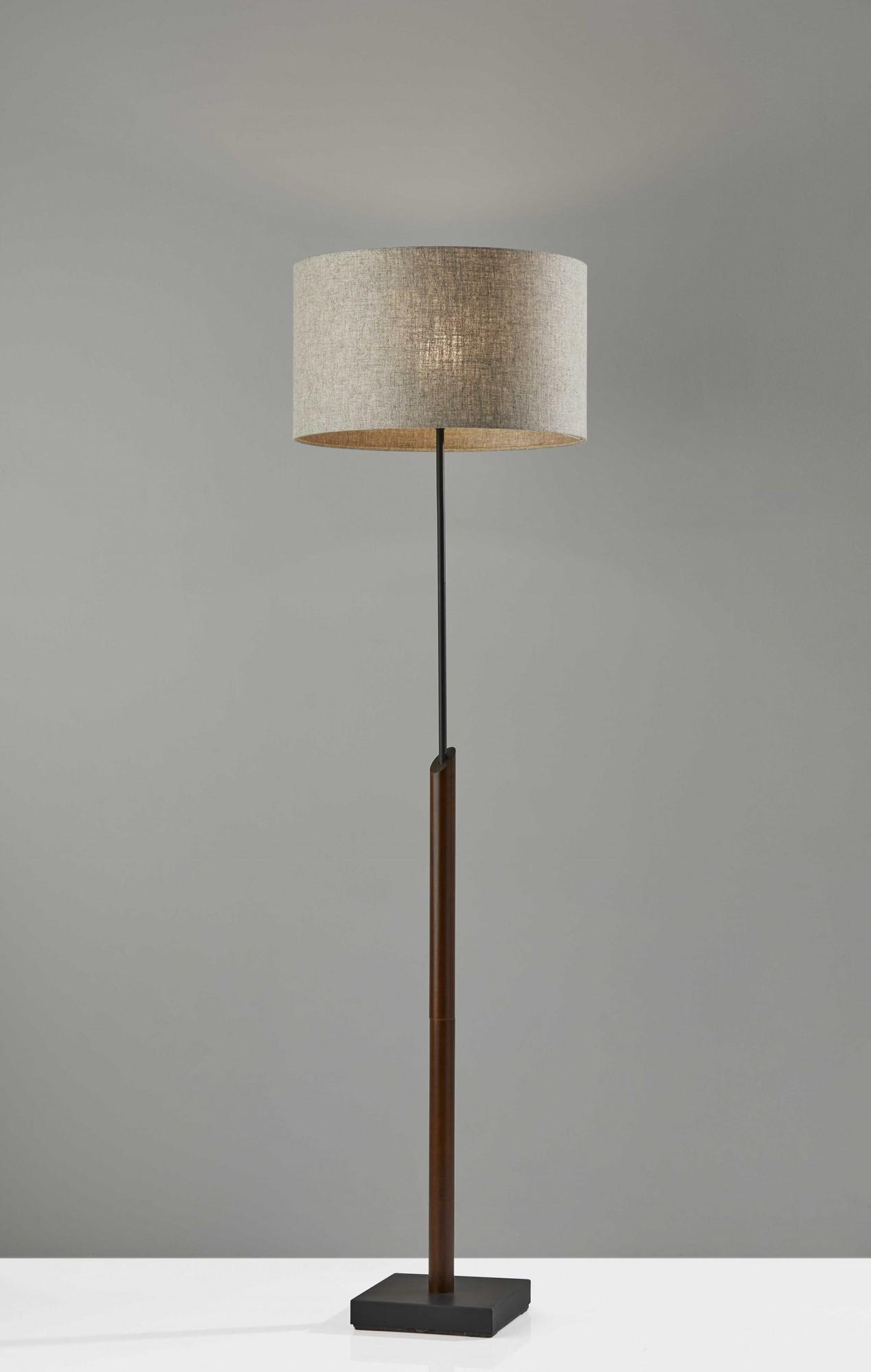 """17"""" X 17"""" X 63"""" Black Wood Metal Floor Lamp"""