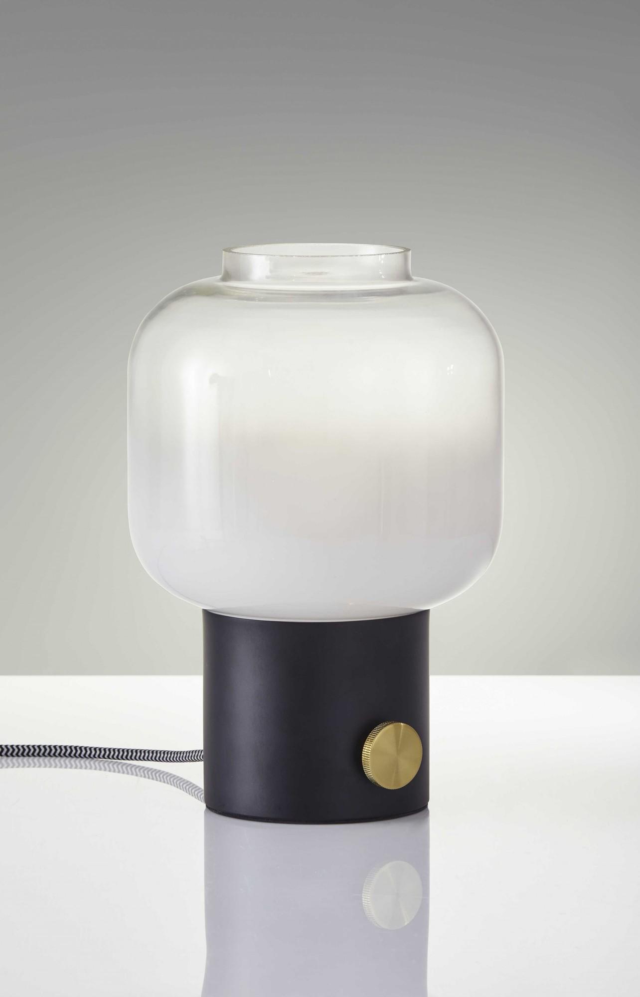 "8"" X 8"" X 12"" Black Glass Table Lamp"