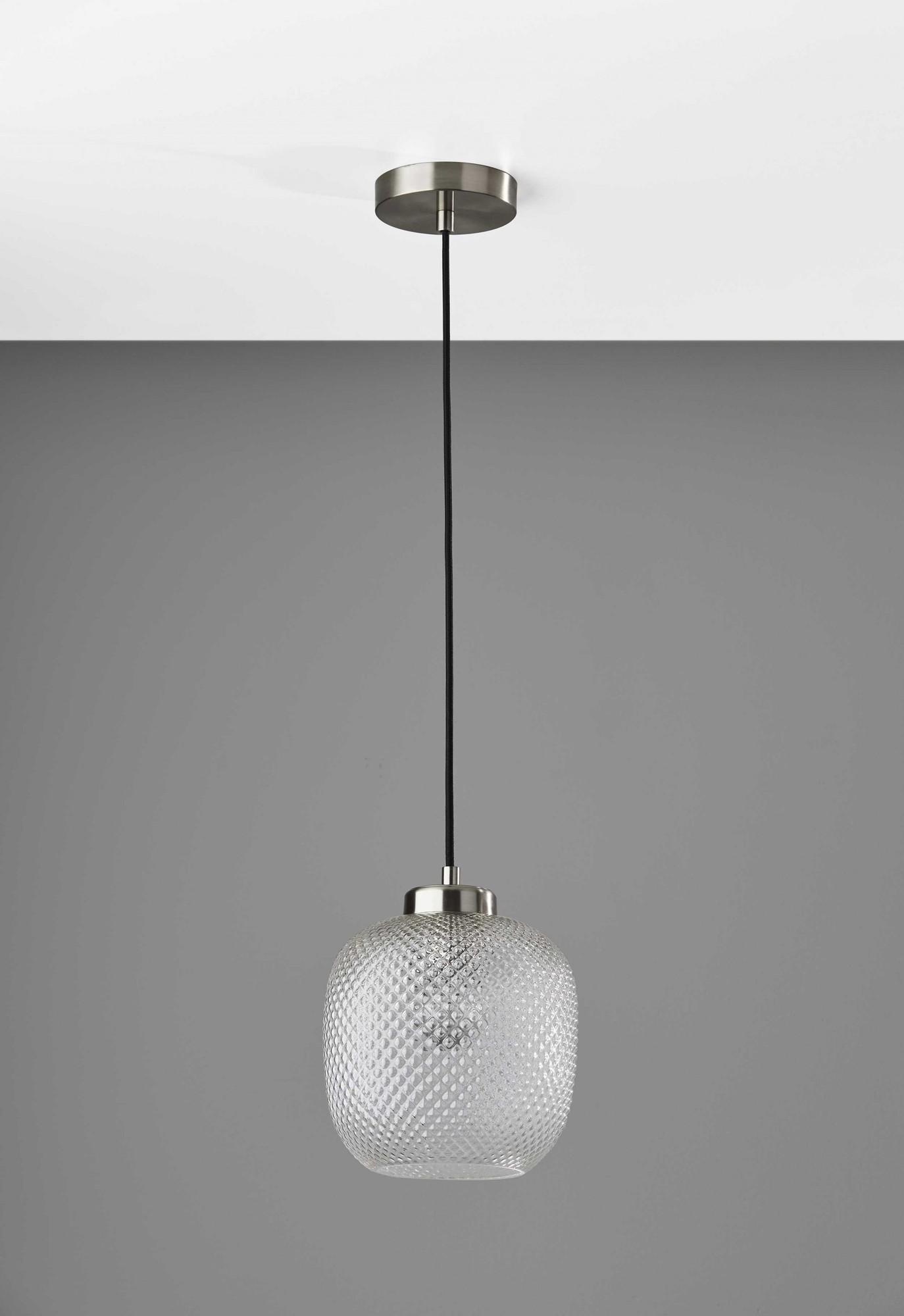 "8.625"" X 8.625"" X 10.5"" Brushed steel Glass Metal Pendant"