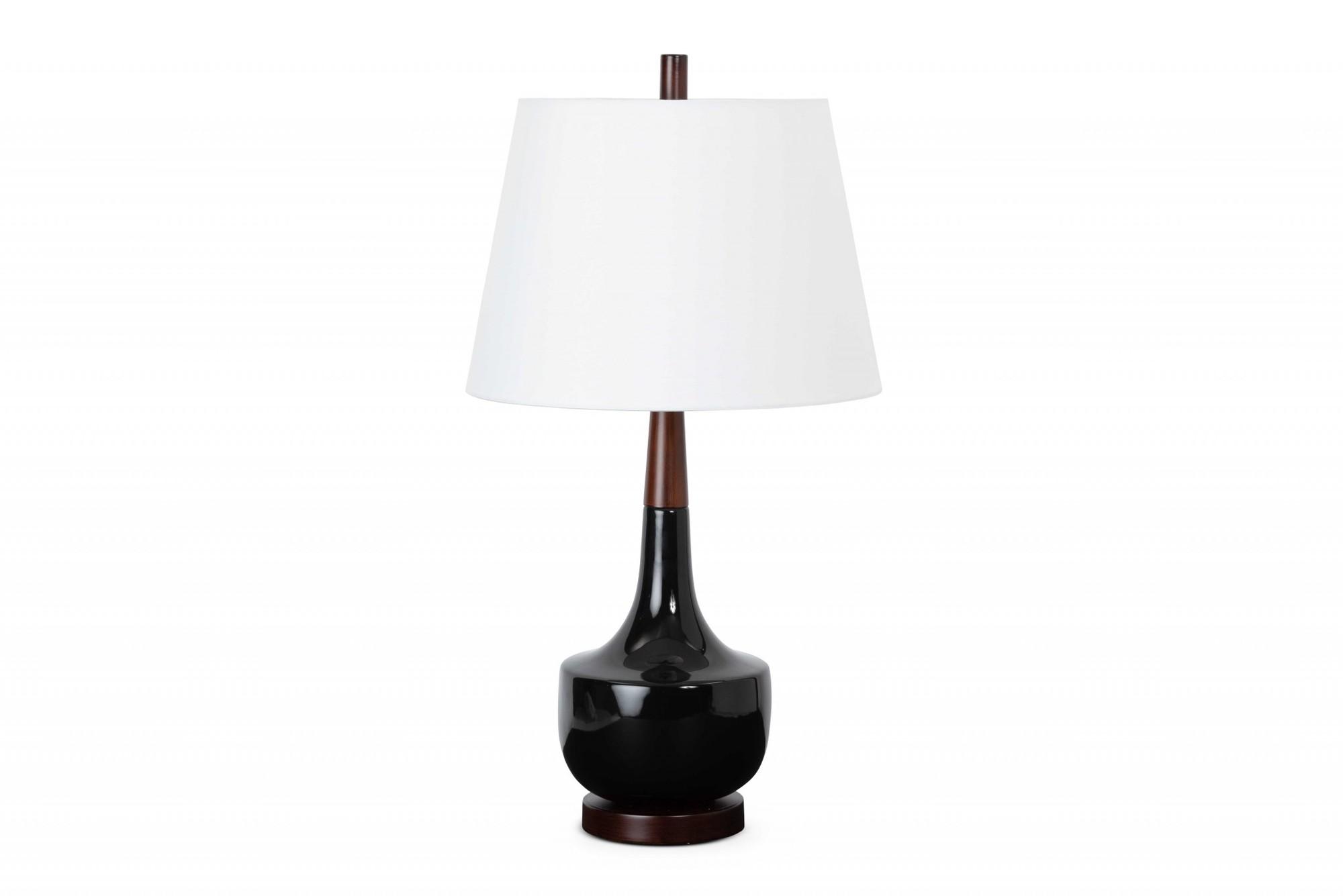 Set of 2 Black Ceramic  Wood Retro Table Lamp