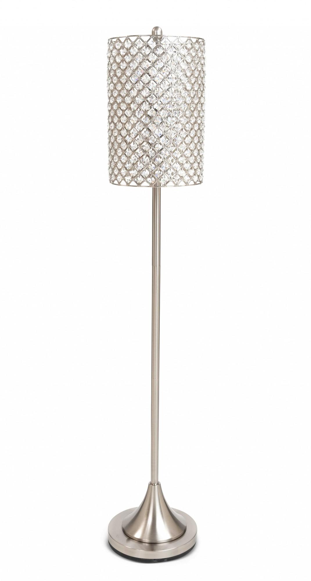 Metal Floor Lamp w Crystal Bead Shade