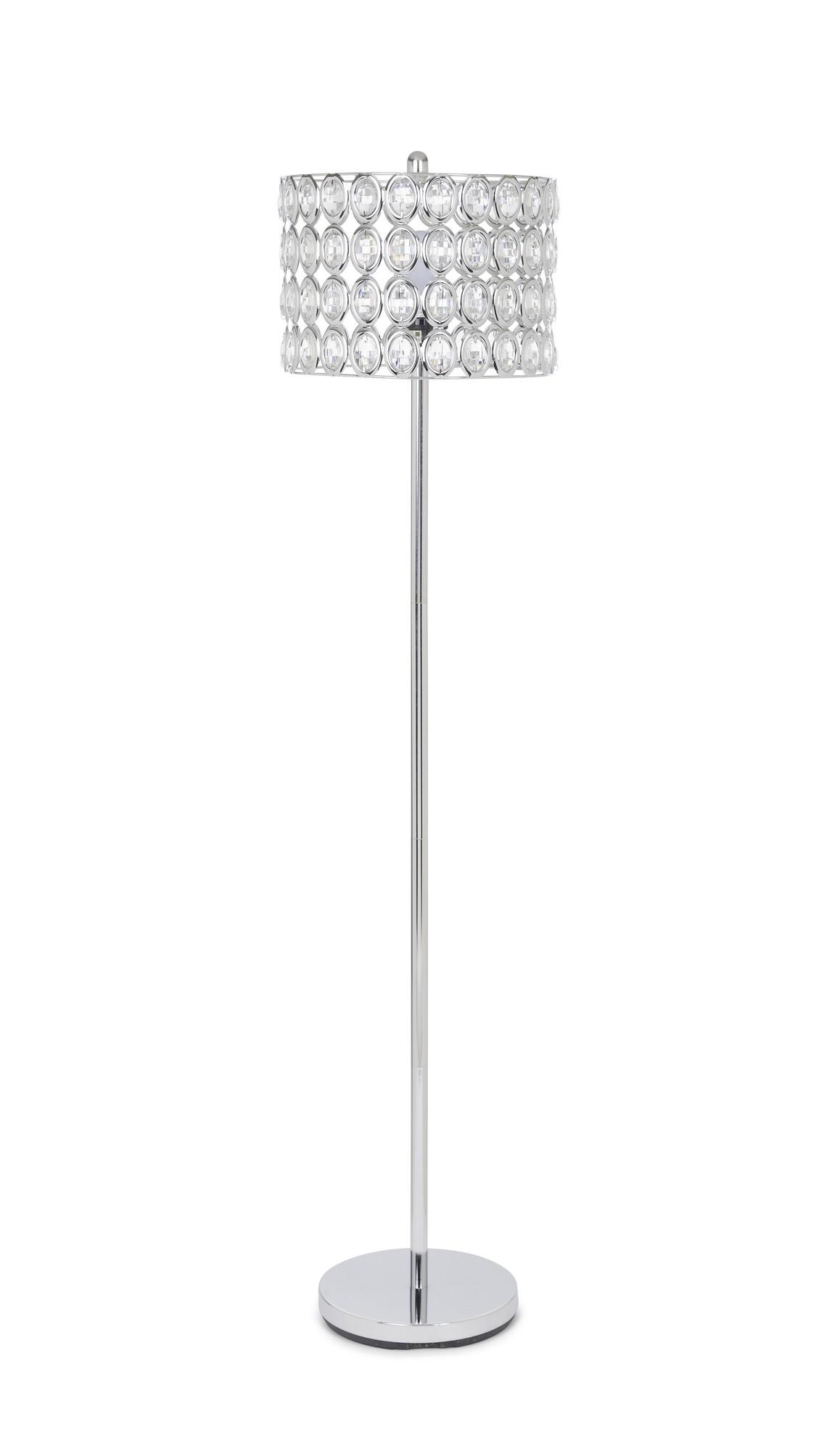 "62"" Round Shade Crystal Glam Floor Lamp"