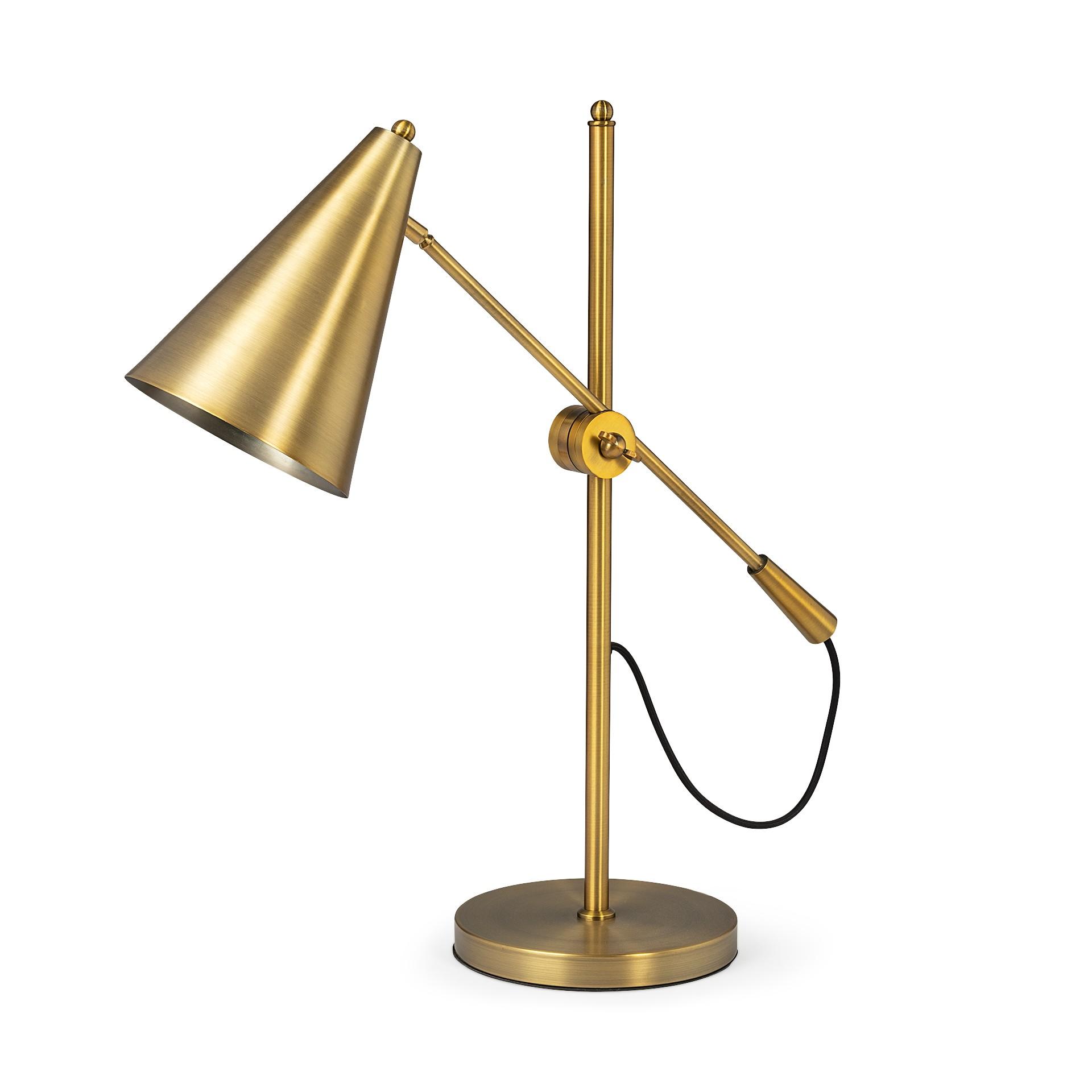 Sleek Golden Cone Adjustable Table or Desk Lamp