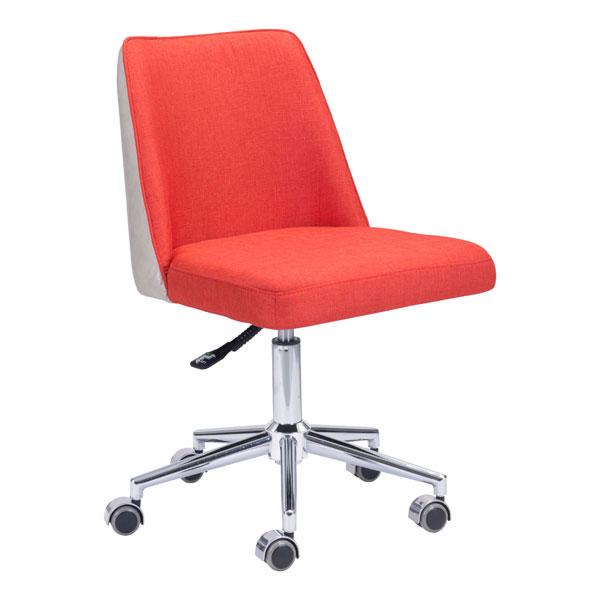"24"" X 24"" X 35.8"" Orange/Beige Polyblend Office Chair"