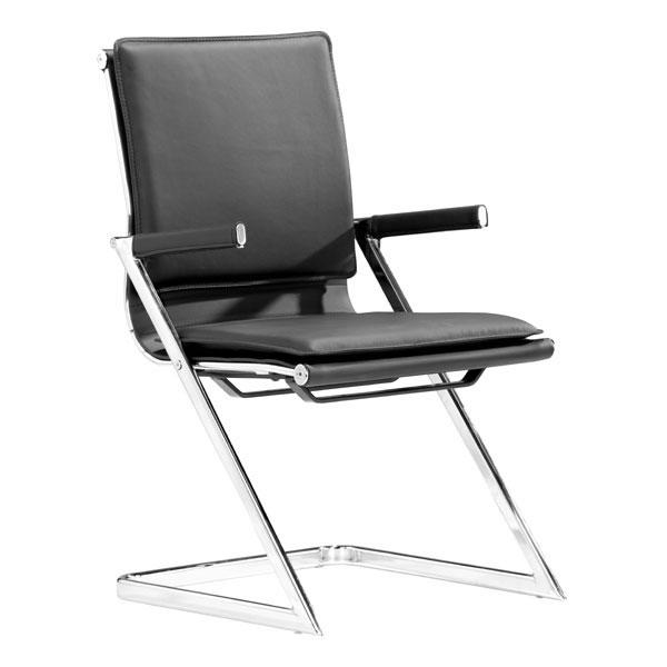 """19"""" X 22"""" X 35"""" 2 Pcs Black Leatherette Conference Chair"""