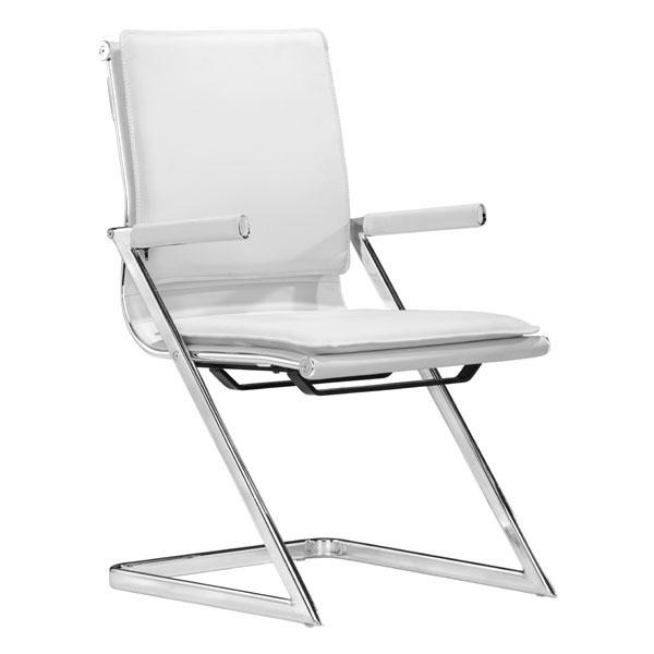 "19"" X 22"" X 35"" 2 Pcs White Leatherette Conference Chair"