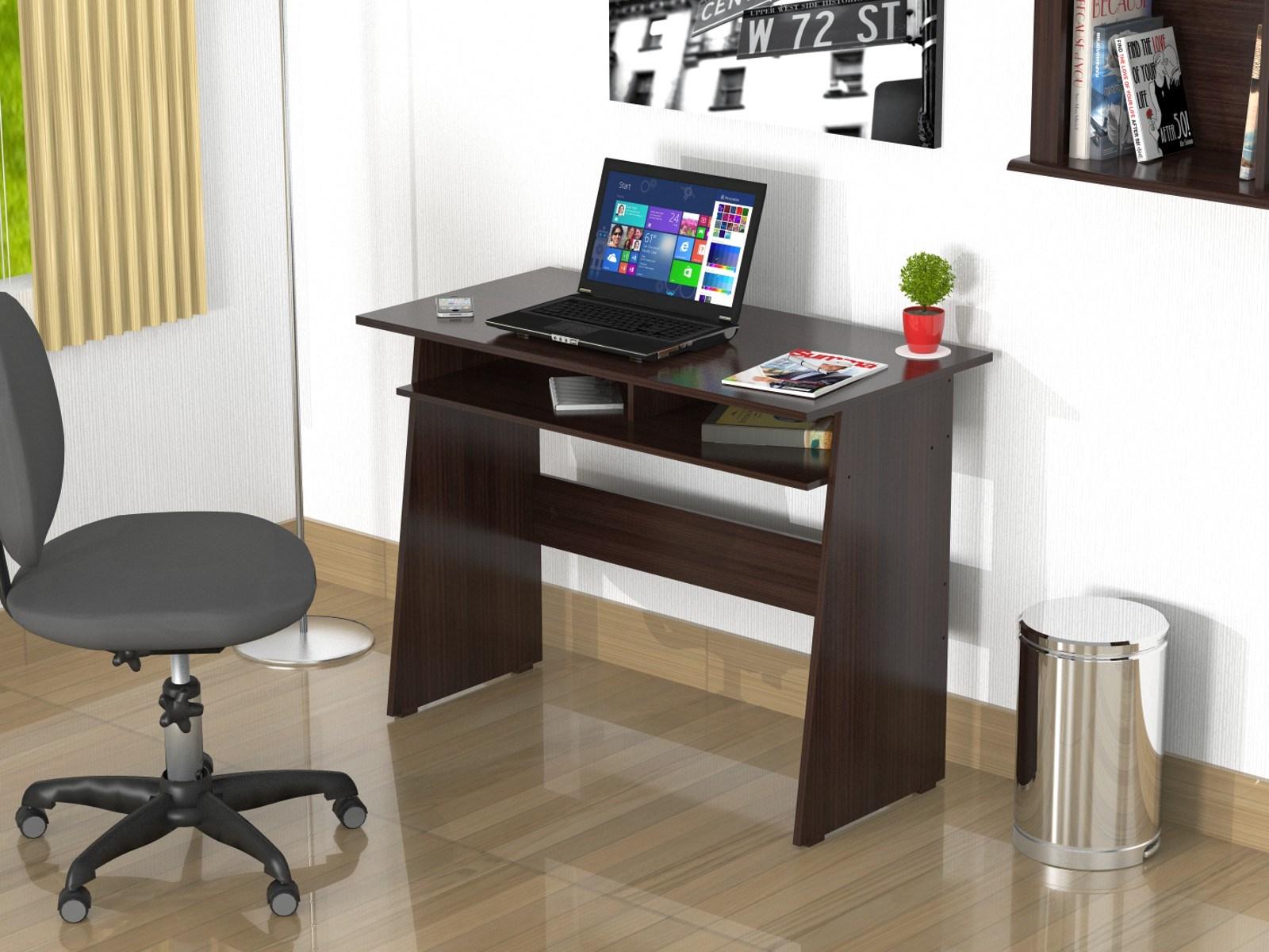 "29.5"" Elegant Espresso Melamine & Engineered Wood Writing Desk with a Storage Area"