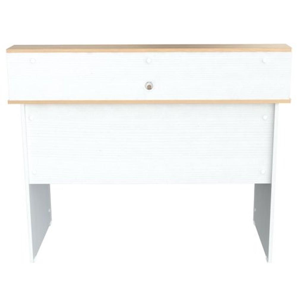 """37.4"""" White Melamine and Engineered Wood Writing Desk"""
