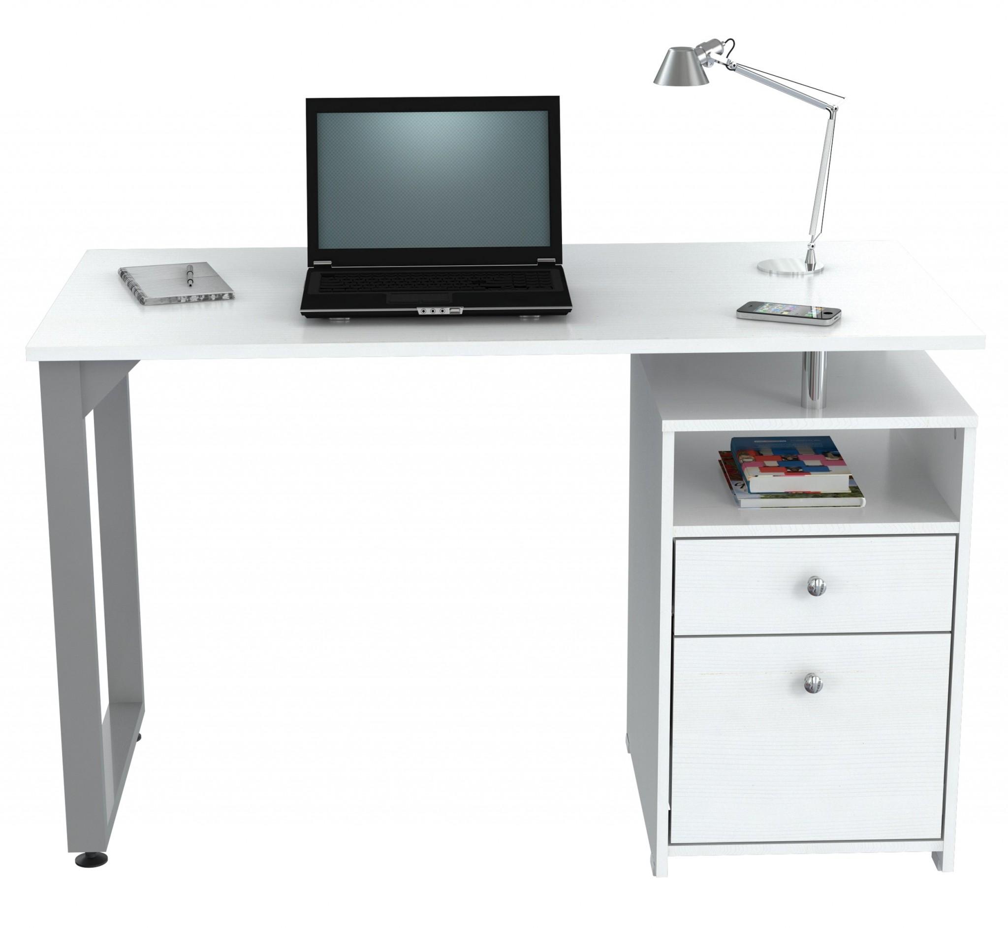 "29.5"" Modern White Melamine and Engineered Wood Writing Desk"