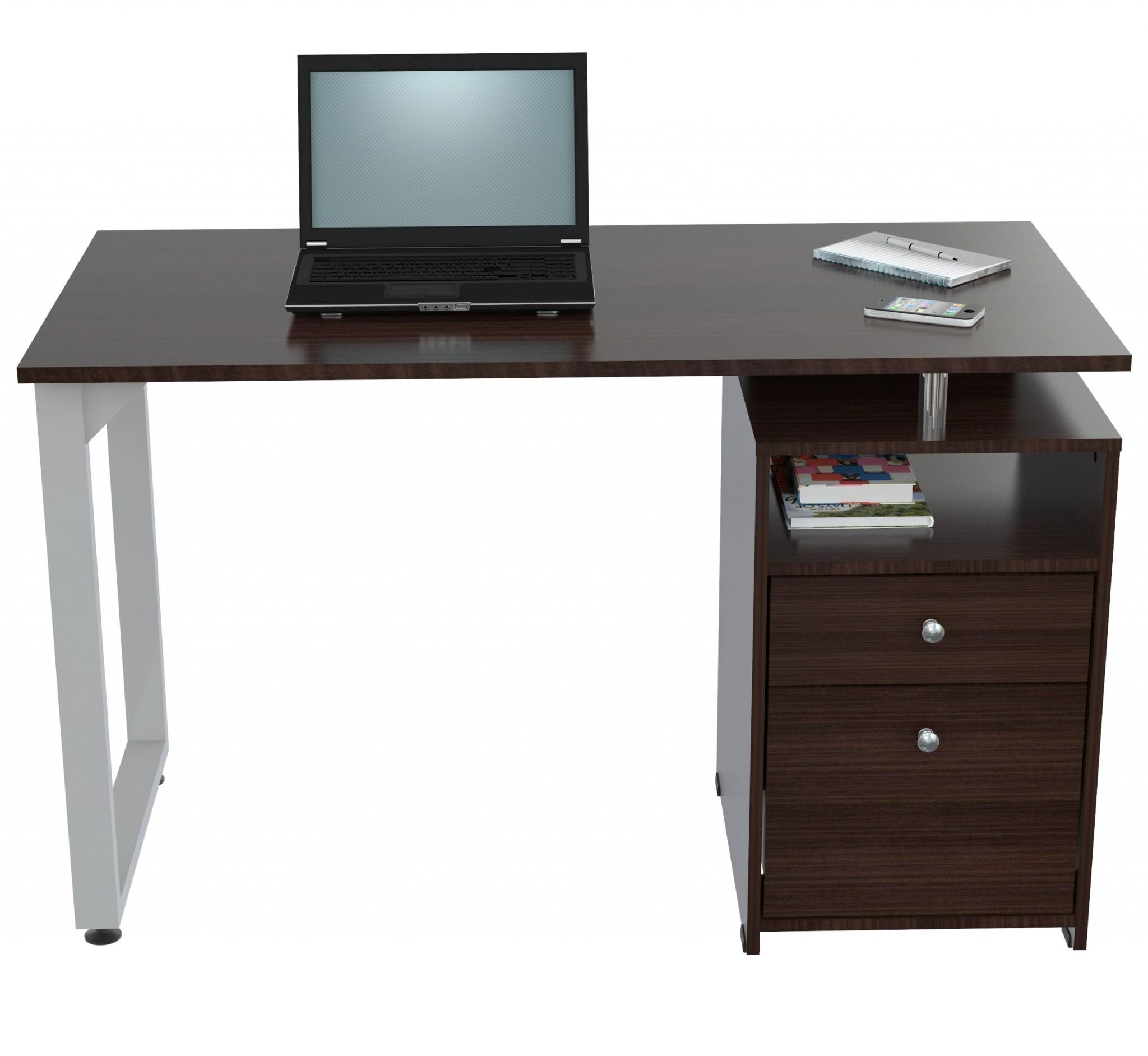 "29.3"" Modern Espresso Melamine and Engineered Wood Writing Desk"