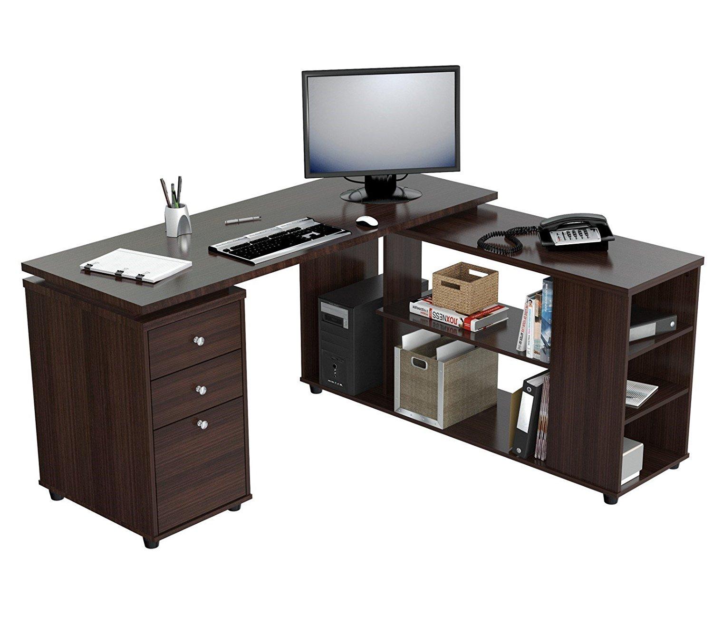 "29.5"" Espresso Melamine and Engineered Wood L Shaped Computer Desk"