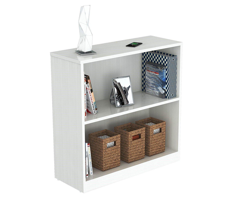 """31.5"""" Lacrina White Melamine and Engineered Wood Bookcase"""