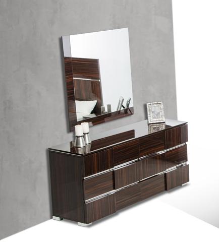 "32"" Ebony Lacquer Veneer  MDF  and Steel Dresser"
