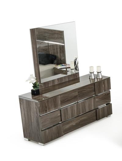"32"" Grey Lacquer MDF  Steel  and Veneer Dresser"