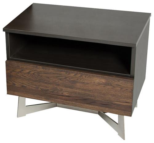 """20"""" Dark Aged Oak Veneer  Steel  and Wood Nightstand"""