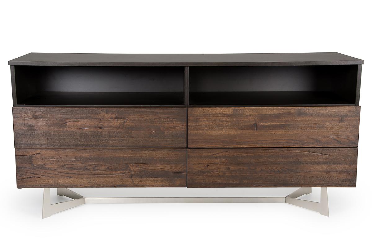 "30"" Dark Aged Oak Wood and Metal Dresser"