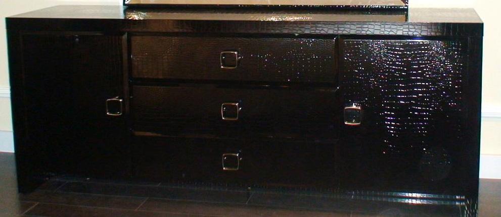 "28"" Black Crocodile MDF Dresser"