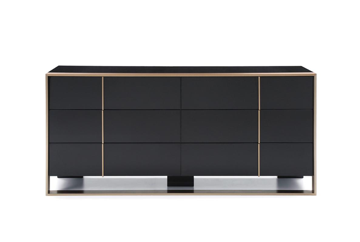 """29"""" Black and Brushed Bronze Dresser"""