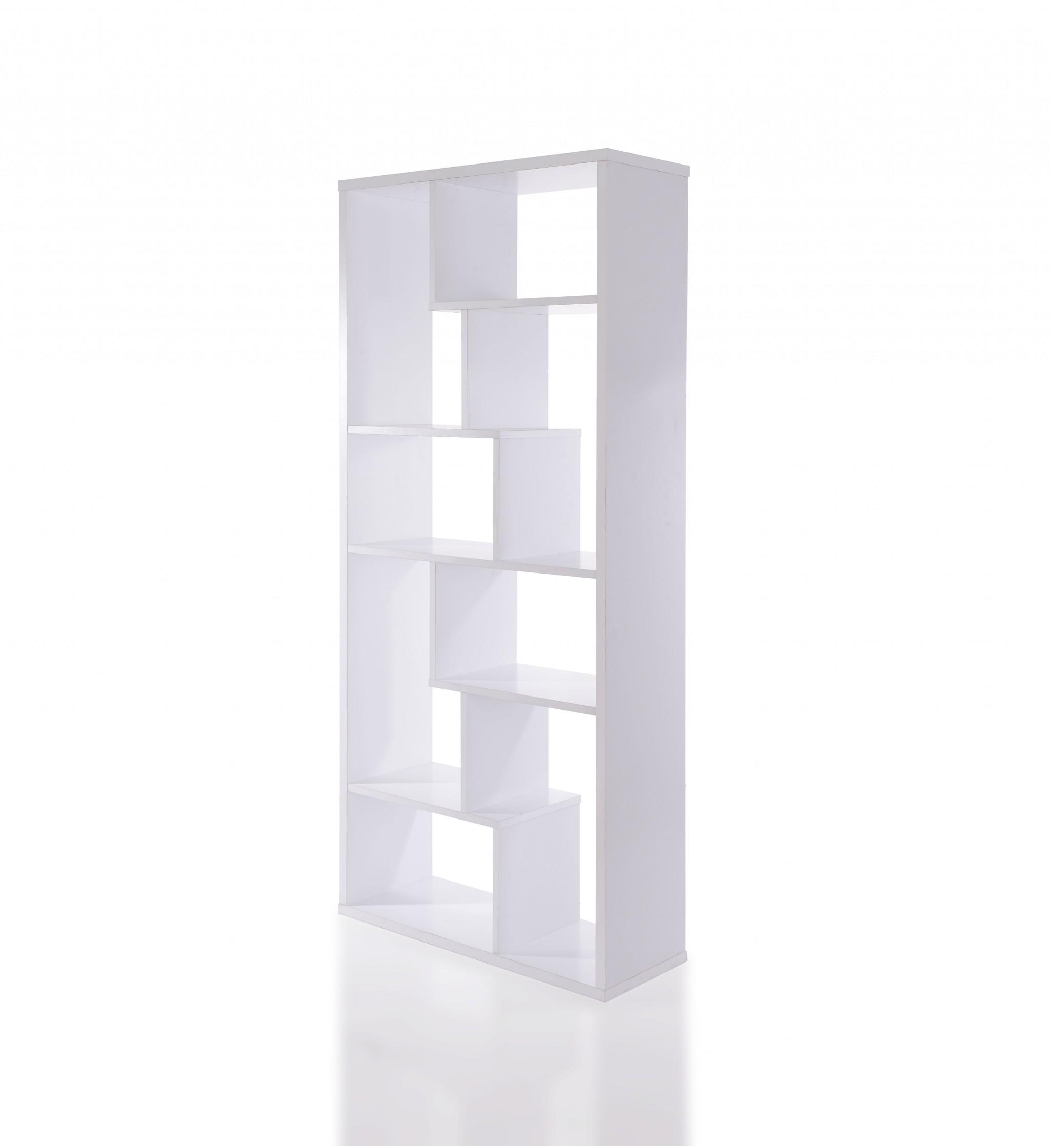 "32"" X 12"" X 71"" White Veneer Cube Bookcase"