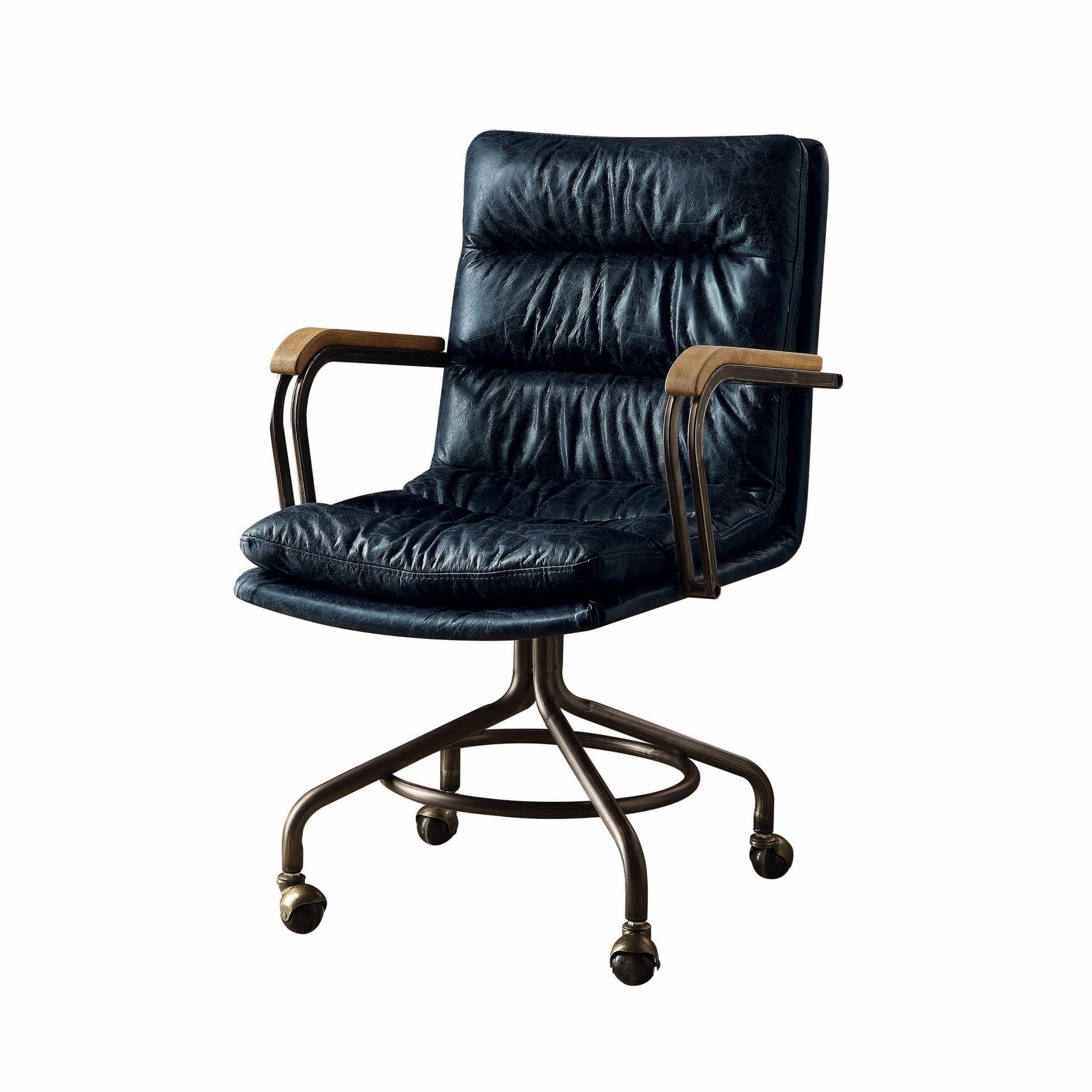 "22"" X 26"" X 36"" Vintage Blue Top Grain Leather Office Chair"